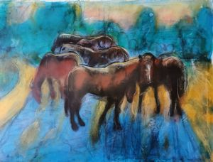 Group of horses in the evening 1 - Avag Avagyan