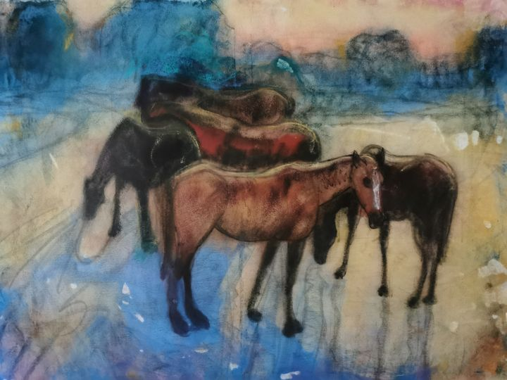 Group of horses in the evening 2 - Avag Avagyan