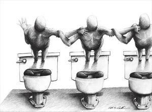 Men Floating Above Toilets
