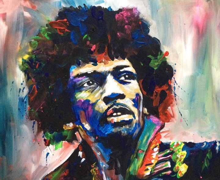 Jimi Hendrix - Colourful World Art - by Yvonne Battersby