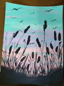 sunset grass view