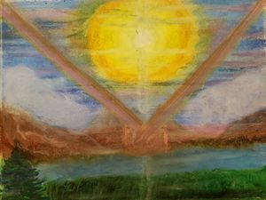 Abstract pastel landscape