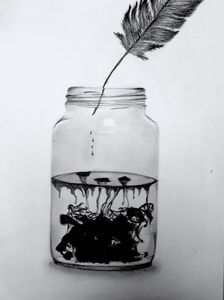 Feather Ink Jar
