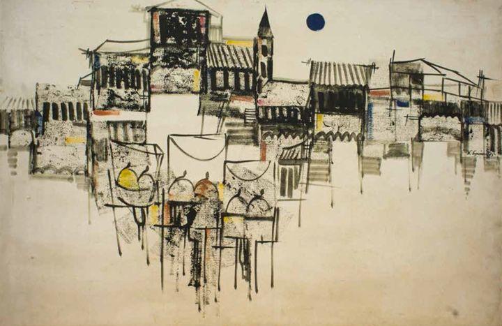 '75 Oil by E Espmussiato - William H Areson Jr Private Art Collection