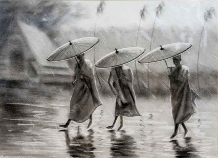 Three Monks in Rain - William H Areson Jr Private Art Collection