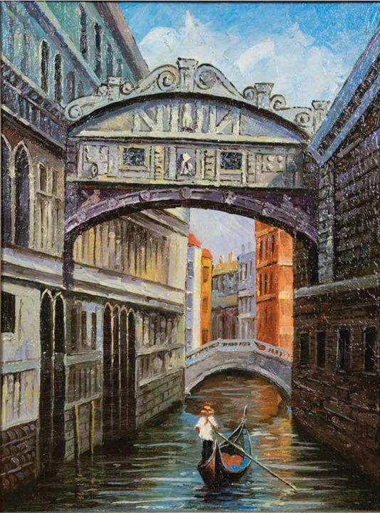 Venice - Gondole with Bridges - William H Areson Jr Private Art Collection
