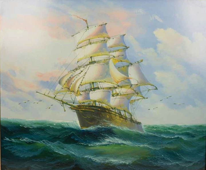 Ship in Full Sail - William H Areson Jr Private Art Collection