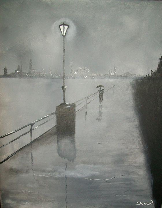 "Romantic Walk in Rain""Black & White"" - Raymond Doward"