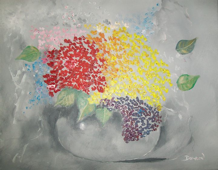 Palette knife floral in vase - Raymond Doward