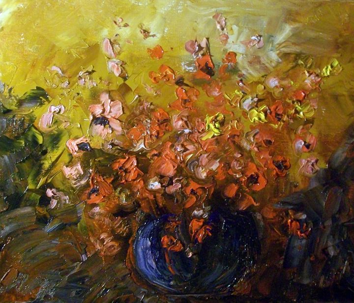 PALETTE KNIFE FLORAL PAINTING - Raymond Doward
