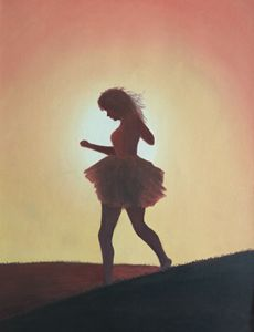 The girl dancing in the dawn light