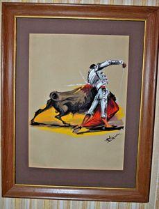 Watercolor Bull and Matador 16 x 12
