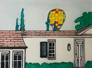Hot Air Balloon..Suburbs..
