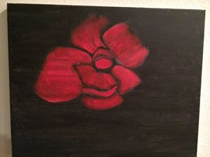 Red Rose on Black Canvas
