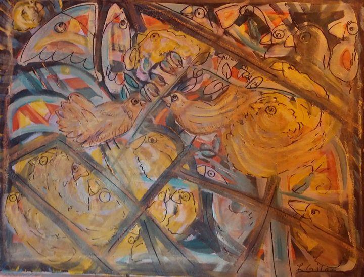 Birds Rest in Broken Stained Glass - Originals Only