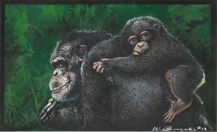 Chimpanzee and baby - Wendell Brooks