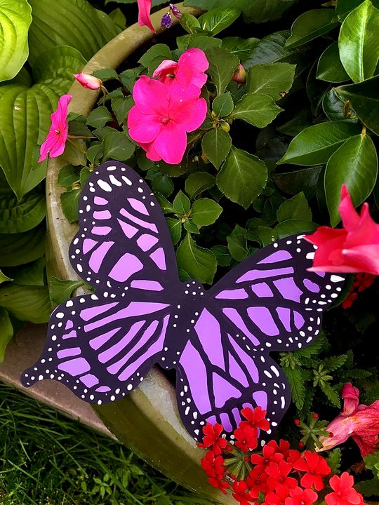Purple Butterfly Wood Painted Canvas - HernandezArt