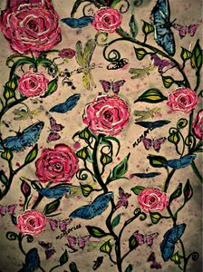 Moths & roses painting mysticlady