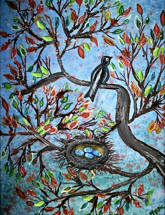 magpie in nest - mysticladyart