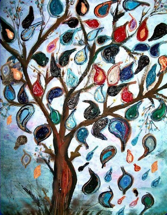 blue tear drop tree - mysticladyart