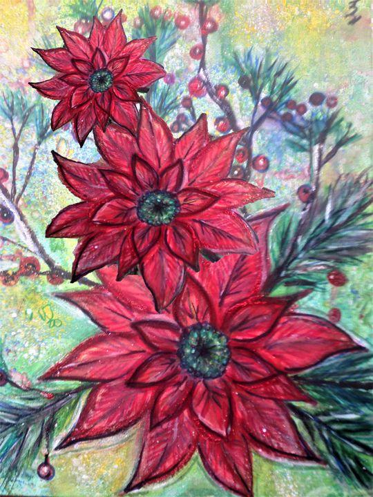 faded poinsettia watercolour - mysticladyart