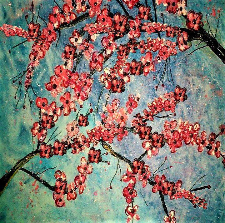 pink  blossom painting - mysticladyart