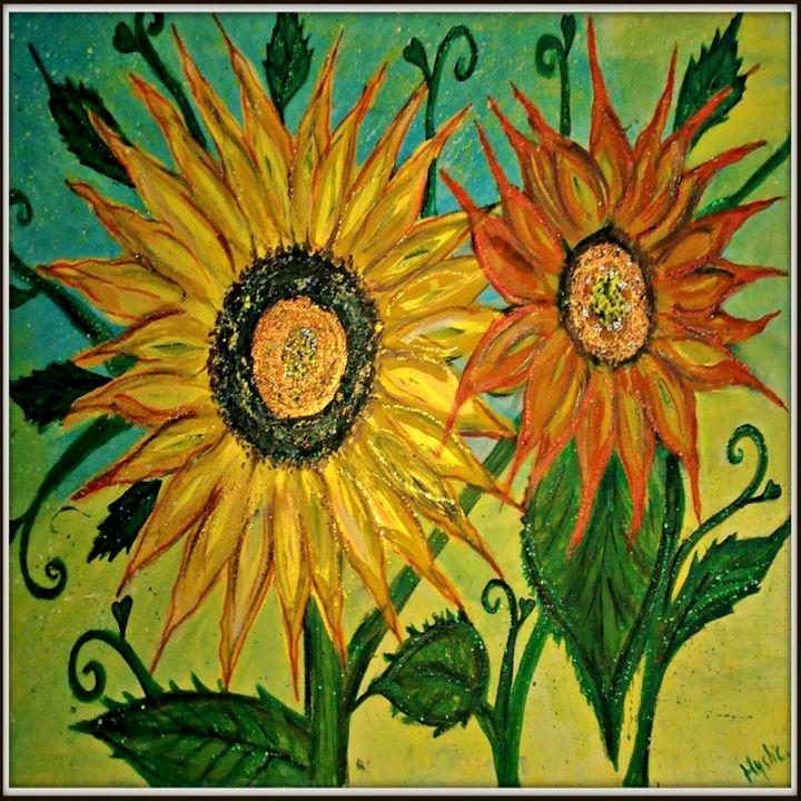 sunflower painting by mystic - mysticladyart