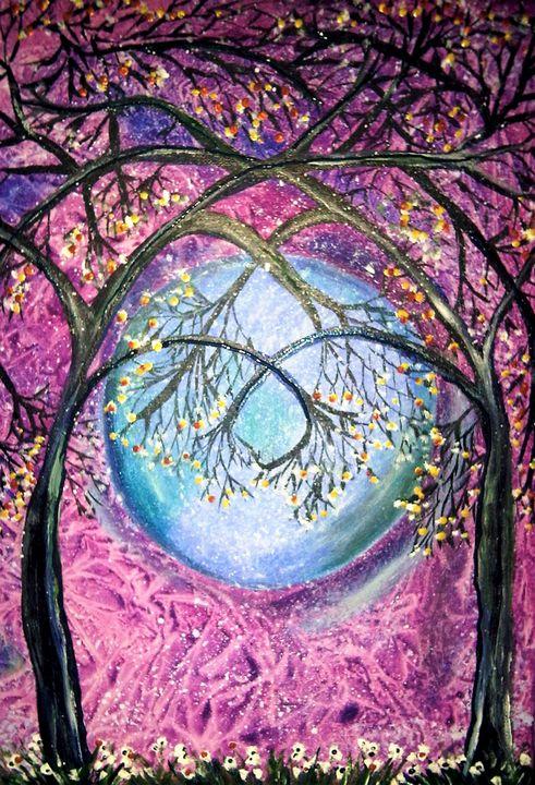 snowdrops under trees - mysticladyart