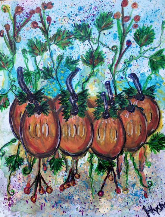 pumpkins fall fun watercolour - mysticladyart