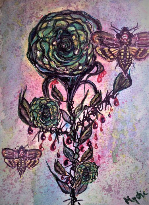 death hawk moth green rose - mysticladyart