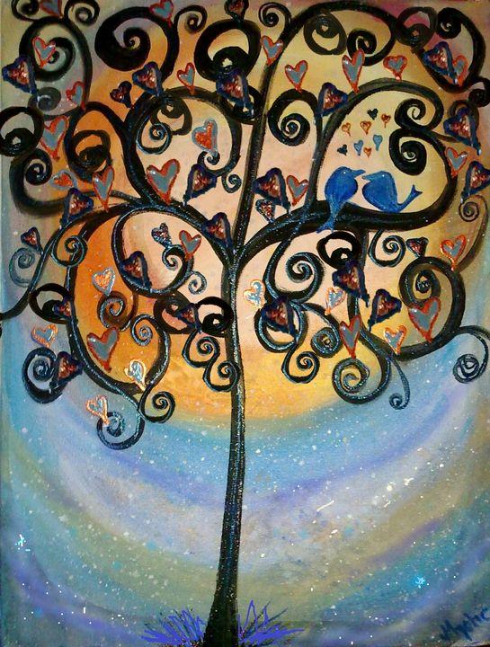 lovebird painting by mysticladyart - mysticladyart