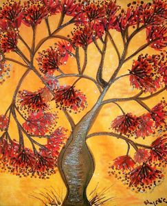 orange berry  tree painting