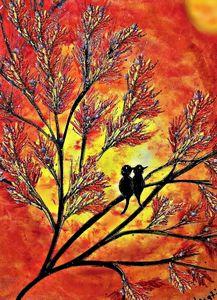 orange silhouette lovebirds