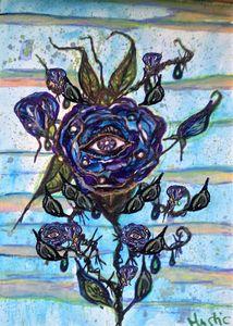 cosmic blue eye watercolour rose