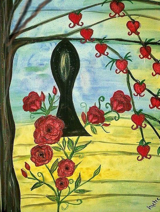 keyhole rose bleeding hearts - mysticladyart