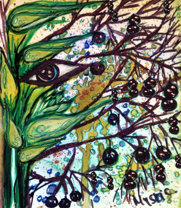 lily berries eye watercolour - mysticladyart