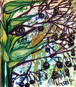 lily berries eye watercolour