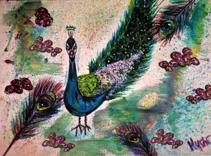 peacock watercolour by mysticladyart - mysticladyart