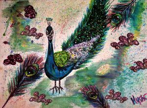 peacock watercolour by mysticladyart