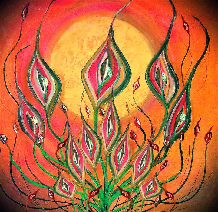 venus lillies in orange - mysticladyart