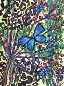 blue morpho in the jungle