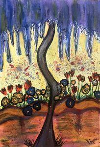 Blue art deco tree by mysticladyart