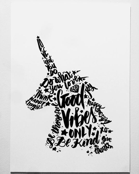 """Good Vibes"" Unicorn - Haly Illustration"