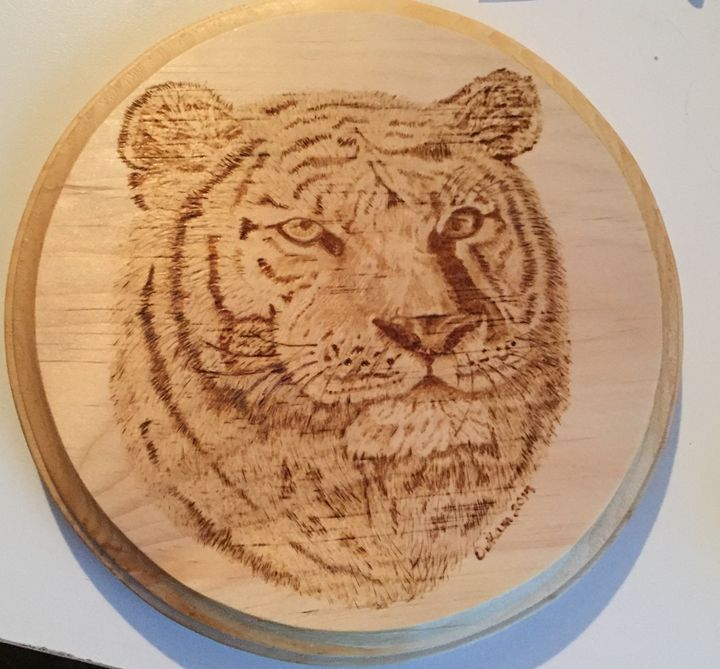 Tiger Pyrography - Wood Burned - Give Crafty Smiles