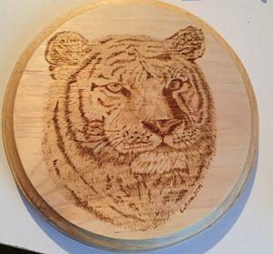 Tiger Pyrography - Wood Burned