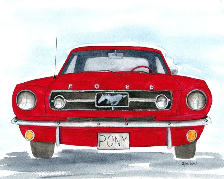 65 Mustang - WatercolorsbySandy