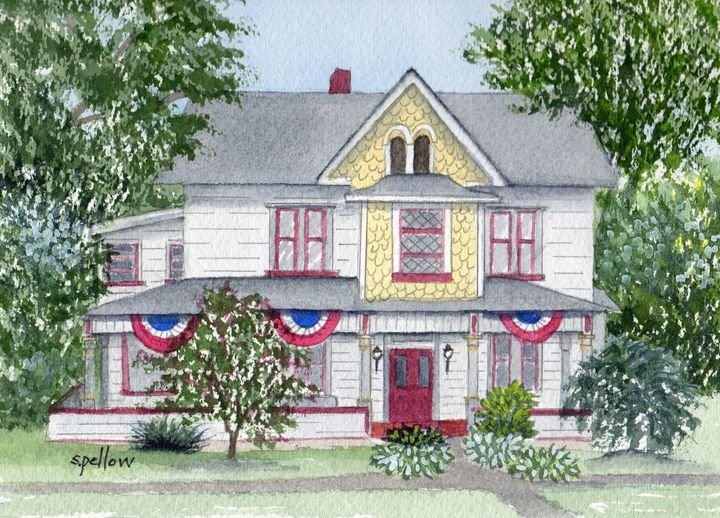 House with 3 Flags - WatercolorsbySandy
