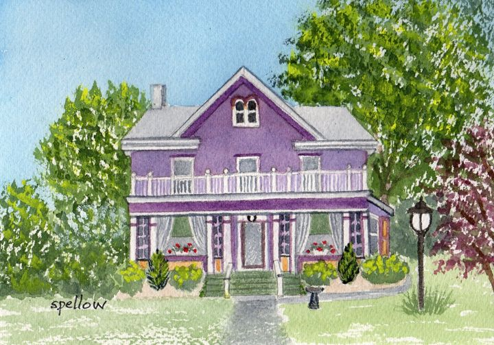 Purple House - WatercolorsbySandy