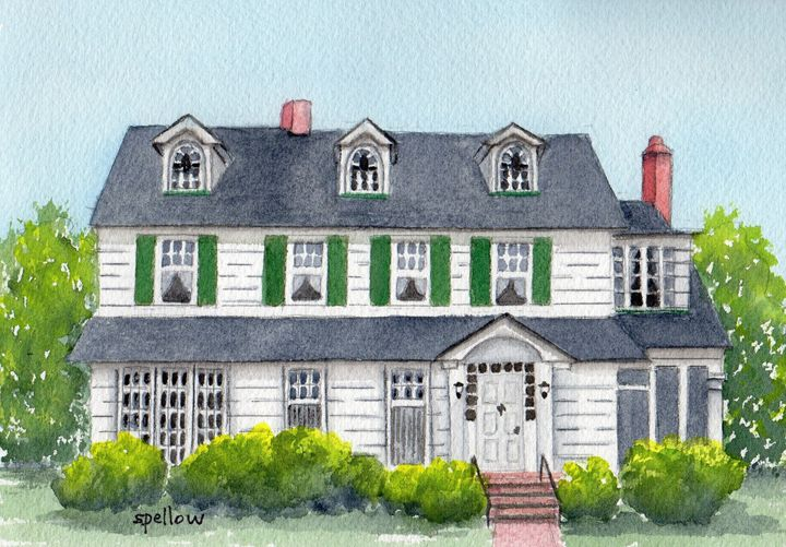 House with Green Shutters - WatercolorsbySandy