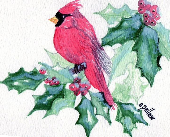 Cardinal and Holly - WatercolorsbySandy